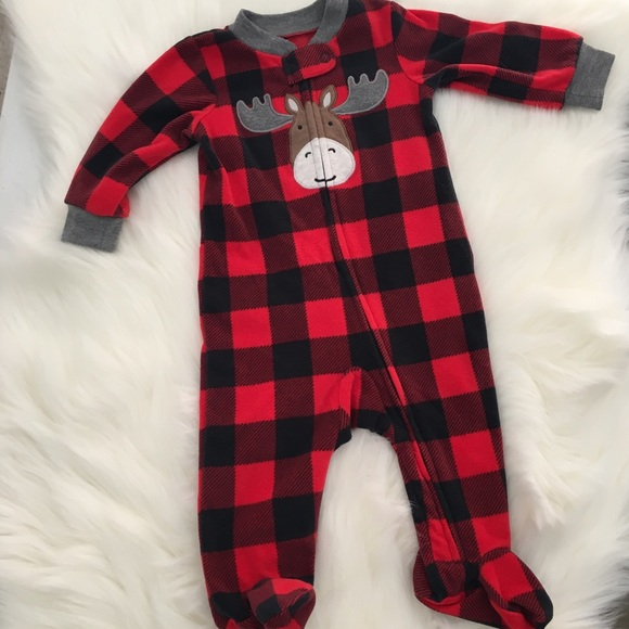 c41cebf557 Carter s Other - Carter s buffalo check fleece footie pajamas